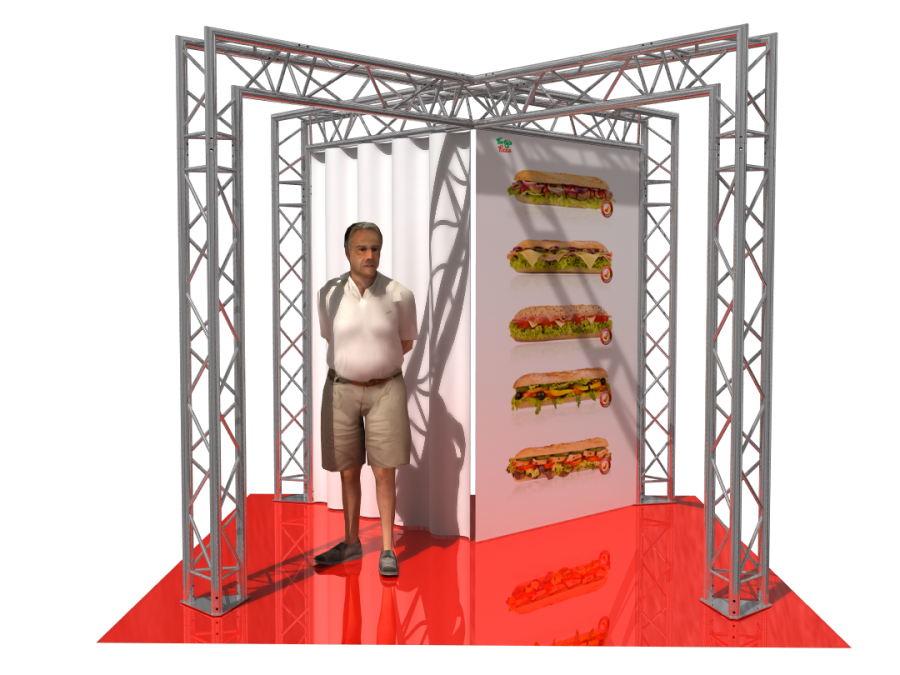 5104 | Aluminum Trade Show Booth 2.66x2.5x2.66m (8.73x8.20x8.73ft) | ExhibitAluTruss