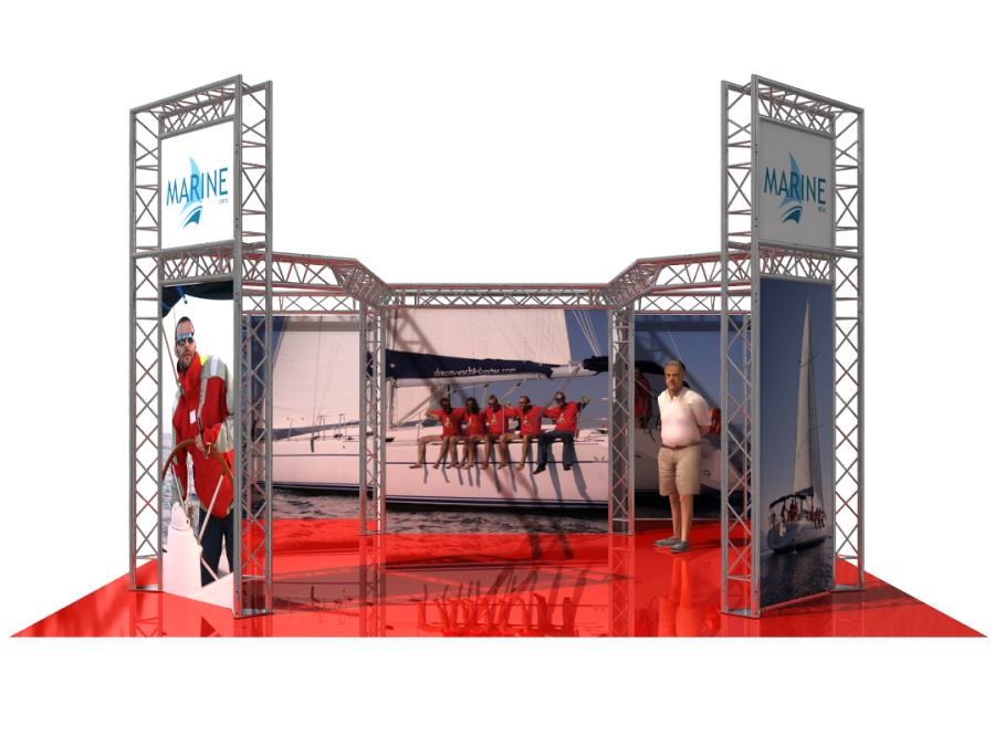 5302 | Aluminum Trade Show Booth  6x3.6x5.5m (19.69x11.81x17.95ft) | ExhibitAluTruss